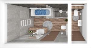 Kupelna a wc so šedým  mramorovým obkladom