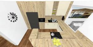 kuchynská linka v rustikálnom vzore s imitáciou masívneho dreva