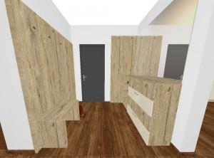 prepojenie drevodekoru z obývačky do predsiene