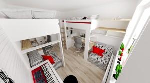 Poschodove postele s pracovným stolom