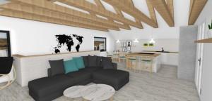 Spojenie kuchyne a obývačky