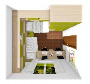 pôdorys študentskej izby v zelenom