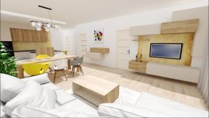 kuchyna s obyvackou 3D vizualizacia