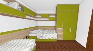 vstavaná skriňa s policami nad posteľami